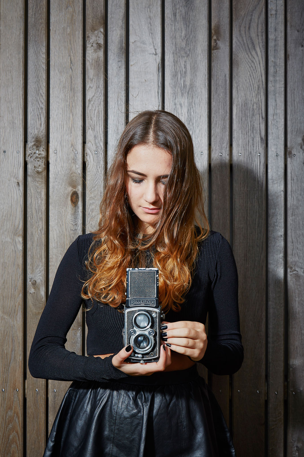 Female Style Black Fashion Rolleiflex Camera